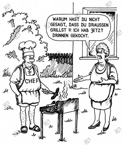 Der Hausherr grillt im Garten
