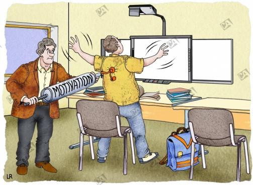 Lehrer  motiviert einen Schüler mit einer Pumpe