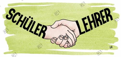 Lehrer und Schüler Hand in Hand