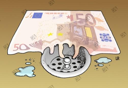 Ein Euroschein zerfließt