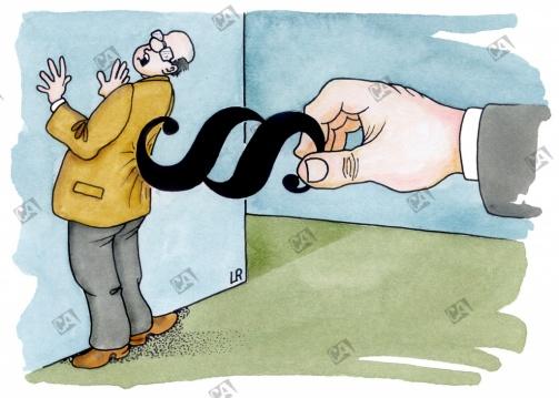 Mann wird von Paragraphen an die Wand gedrückt