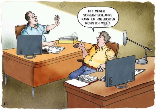 Mobbing mit der Schreibtischleuchte