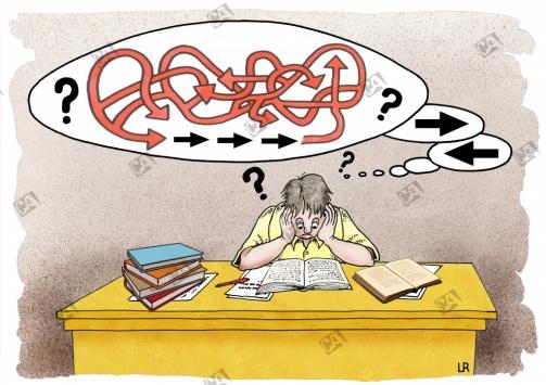 Gedankenblase mit Fragezeichen und Irrwegen