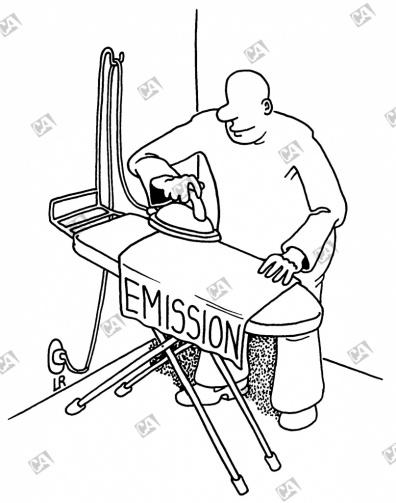 Eine Emission auf dem Bügelbrett