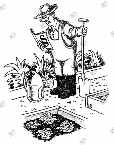 Ein Gärtner liest Vorschriften