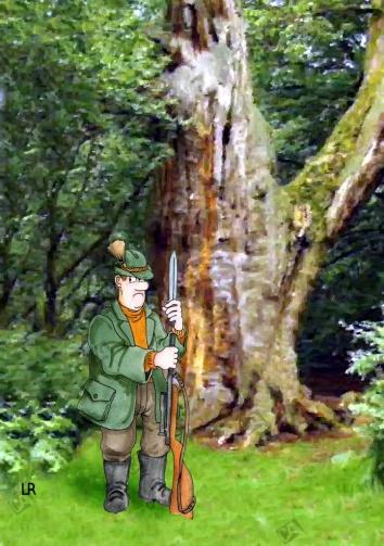 Ein Jäger allein im Wald
