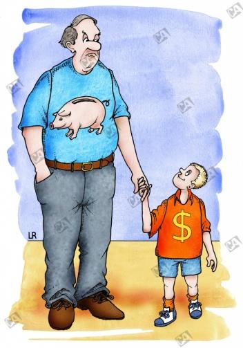 Vater und Sohn sparen