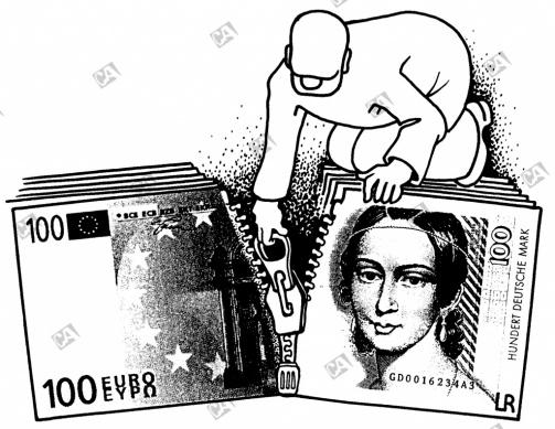 Euro und Mark zusammenführen