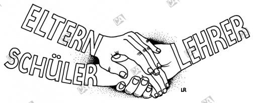 Lehrer, Schüler und Eltern, Hand in Hand