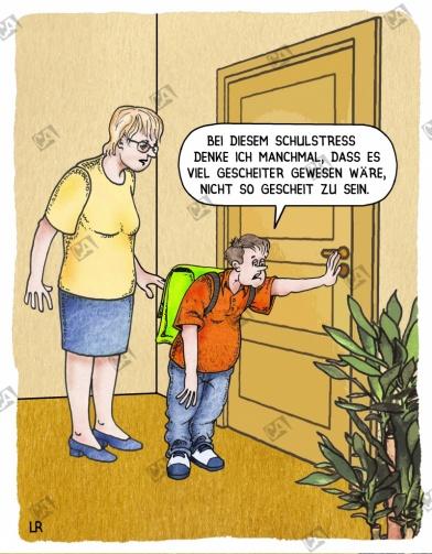 Schüler klagt zuhause über Schulstress