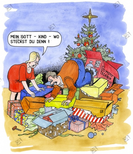Unter Geschenkpaketen verschwunden
