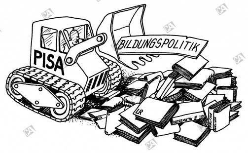 Bagger entsorgt Bücher und Bildungspolitik
