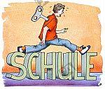 Schüler steigt über das Wort 'Schule'