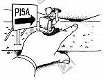 Schüler sitzt auf einer großen Hand und schaut in Richtung PISA