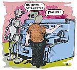 Roboter spricht mit Maschinenarbeiter