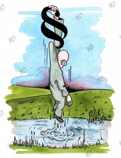 Er zieht sich selbst aus dem Sumpf