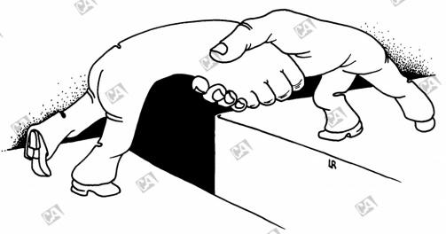 Hände schütteln über Abgrund
