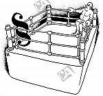 Ein Boxer und ein Paragraph in einem Boxring