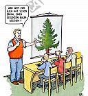 Lehrer zeigt den Schülern einen gesunden Baum