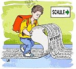 Schüler auf dem Schulweg liest Lehrplan