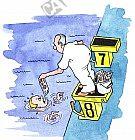 Der Schwimmer wird gefüttert
