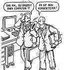 Ein Angestellter grüßt einen Computer