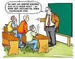 Ein Lehrer nimmt zur Kenntnis, dass ein Schüler alles weiß
