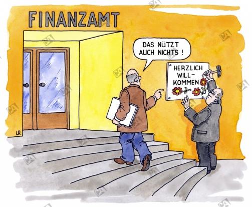 Willkommensgruß des Finanzamtes
