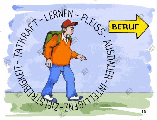 Ein Schüler auf seinem Weg zum Beruf