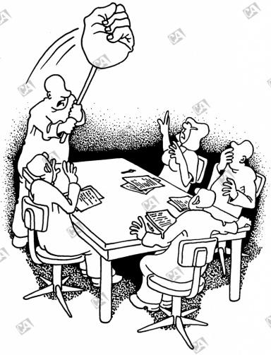 Mit der Fuast auf den Tisch schlagen