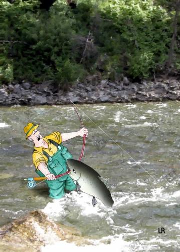 Ein Fisch greift den Angler an