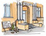 Ein Bettler sitzt vor einem Finanzamt