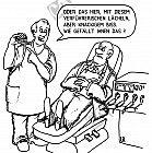 Ein Zahnarzt lobt seine Gebisse
