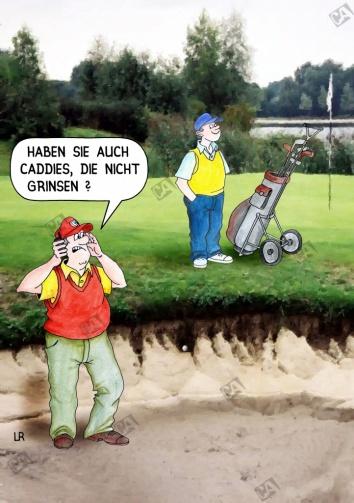 Ein Golfer reklamiert den Caddy