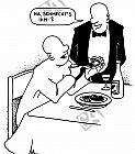 Ein Gast füttert sein Gebiss