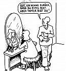 Tapfer vor dem Spiegel sitzen