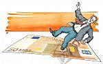 Ausrutscher auf Geldschein