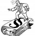 Ein Mensch ist zwischen einem Gesetzbuch eingeklemmt