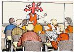 Der Lehrer hat an Stelle eines Kopfes viele Richtungspfeile