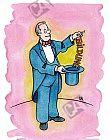 Zauberer holt Bildung aus seinem Zylinder