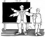 Lehrer mit vier Armen zeigt in verschiedene Richtungen