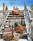 Die alte Holztreppe hinter der Mauer