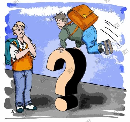 Schüler hüpft über ein Fragezeichen