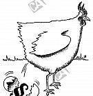 Ein Huhn legt ein Ei mit einem Paragraphen