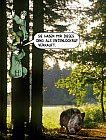 Jäger flüchten auf einen Baum