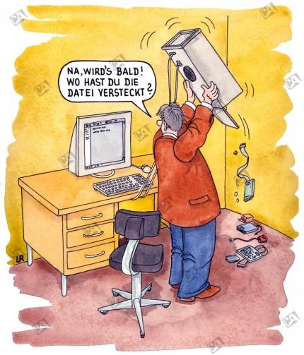 Der Mann findet eine wichtige Datei nicht mehr