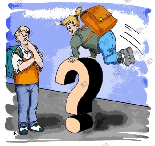 Schülerin hüpft über ein Fragezeichen