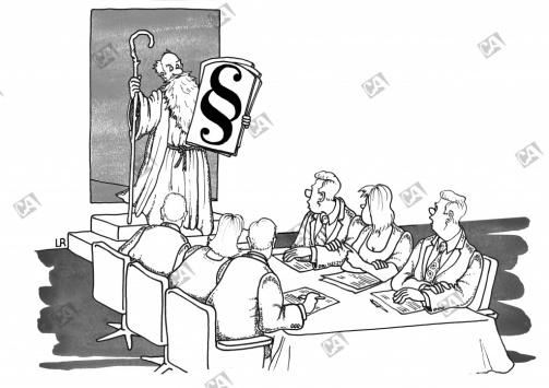 Moses mit einem Paragaph auf einer Gesetztafel