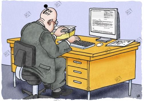 Angestellter mit Einschaltknopf