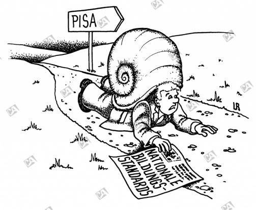 Mann mit Schneckenhaus kriecht in Richtung PISA